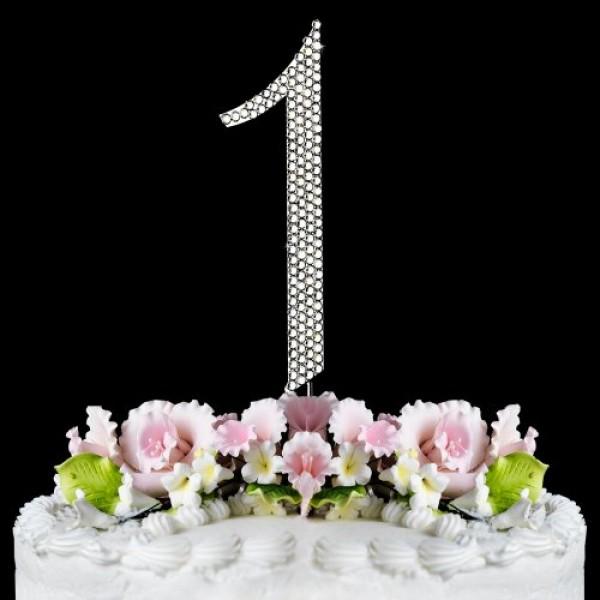 Rhinestone Cake Topper Number 1