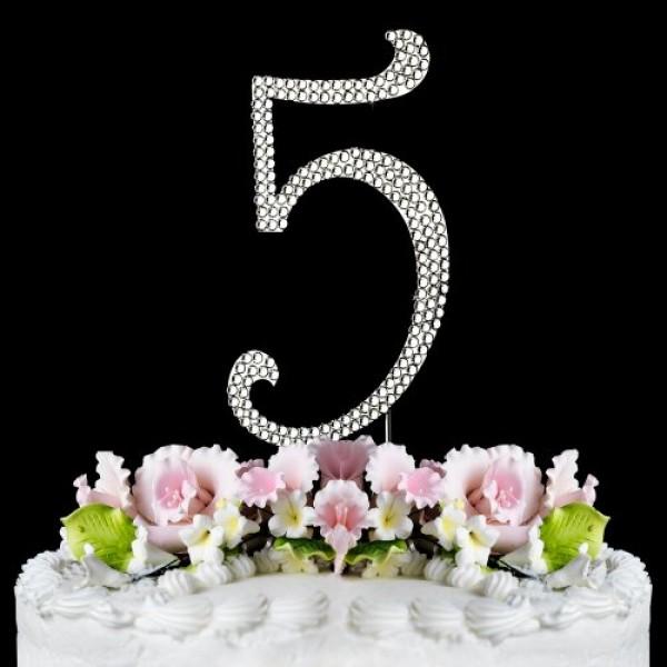 Rhinestone Cake Topper Number 5