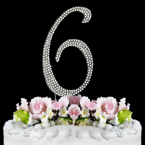 Rhinestone Cake Topper Number 6