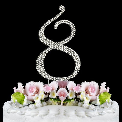 Rhinestone Cake Topper Number 8 by other