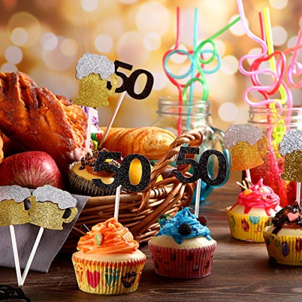 Cheers and Beers to 50 Years Cupcake Toppers Includes 24 Pieces ...