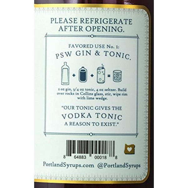 Portland Syrups Rose City Quinine Tonic Concentrate 16 ounces ...