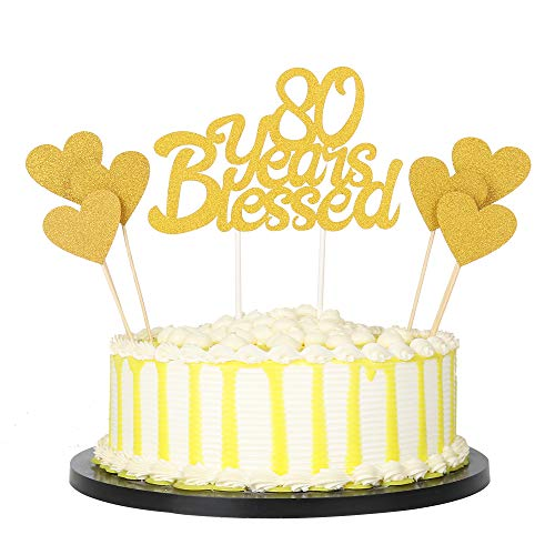 PALASASA 6pc Gold Love Star And Gold Single Sided Glitter 80 Yea...