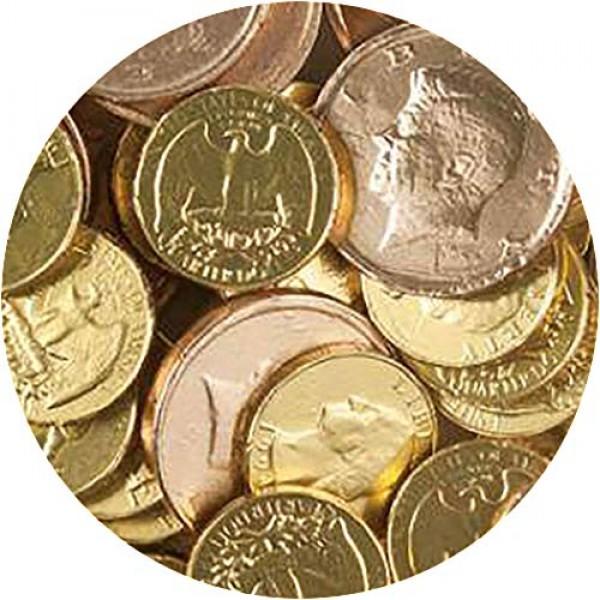 Gold Foiled Milk Chocolate Half Dollar & Quarter Coins - 3 LB Bu...
