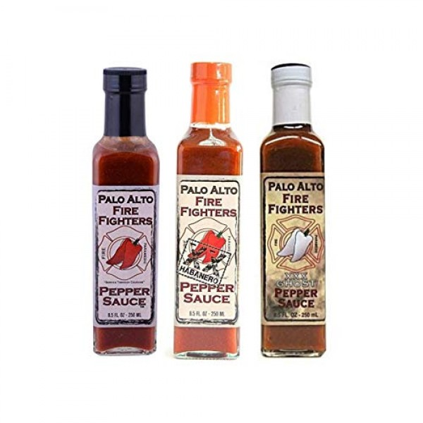 Palo Alto Firefighters Pepper Sauce, 8.5 Ounce Variety Three Pac...