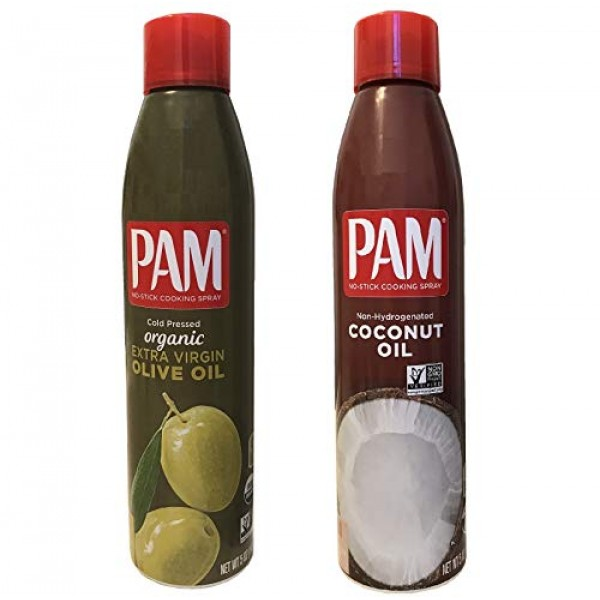 Pam Cold Pressed Organic Extra Virgin Olive Oil and Pam Non-Hydr...