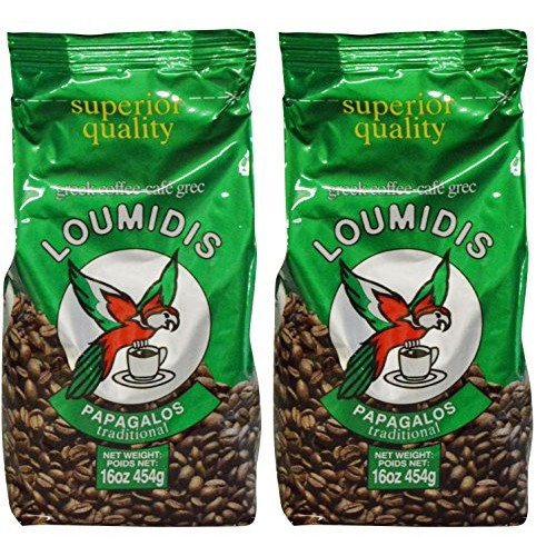Loumidis Greek Ground Coffee Papagalos Traditional 2 Pack 16 Ou...