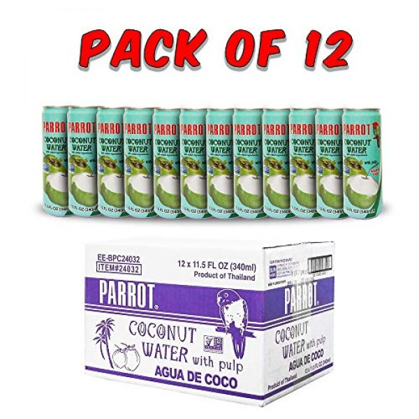 Parrot Brand Coconut Water with Pulp 11.5 fl. ozPack of 12 N...