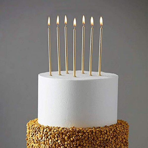 24 Count Party Long Thin Cake Candles Metallic Birthday Candles ...