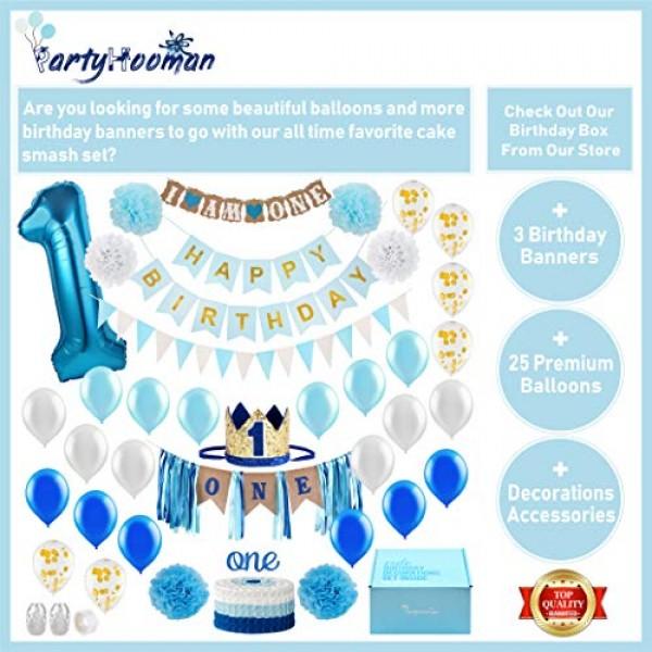 Baby 1st Birthday Boy Decorations with Crown - Baby Boy First Bi...