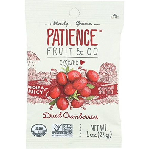 Patience Fruit & Co. Organic Dried Cranberries Fruit Snacks, 1 O...