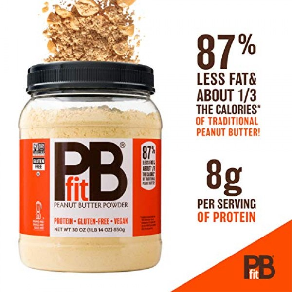 PBfit All-Natural Chocolate Peanut Butter Powder, Powdered Peanu...