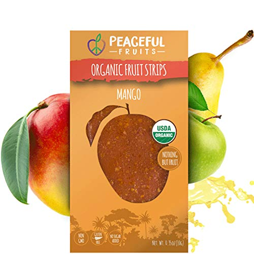 Peaceful Fruits Organic Fruit Strips Mango (12pk) - all Natural,...