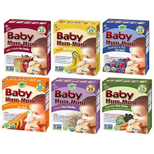 Hot-Kid Baby Mum-Mum Rice Rusks Variety Pack of 6 Organic Origi...