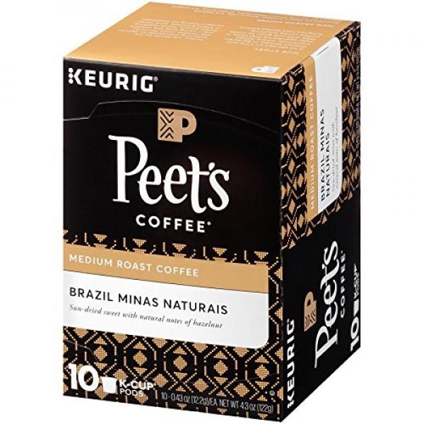 Peets Coffee Brazil Minas Naturais Medium Roast Coffee K-Cup Co...