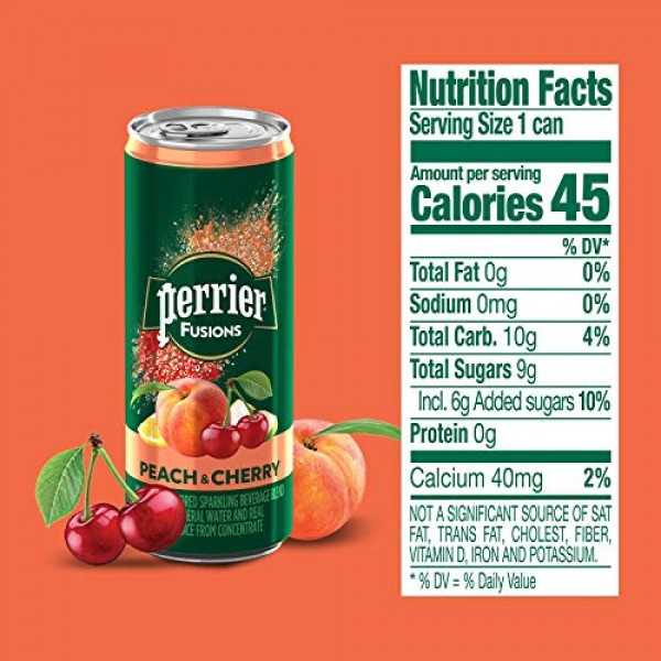 Perrier Fusions, Peach and Cherry Flavor, 8.45 Fl Oz. Cans 24 C...
