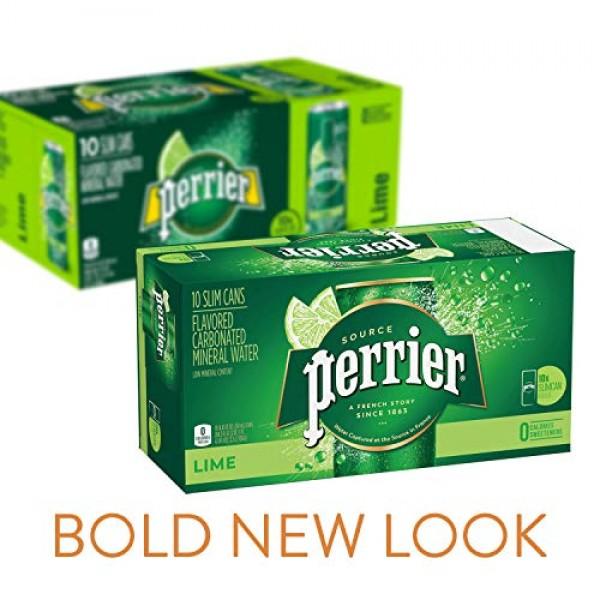 Perrier Lime Flavored Carbonated Mineral Water, 8.45 fl oz. Slim...