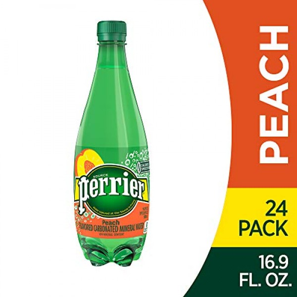Perrier Peach Flavored Carbonated Mineral Water, 16.9 Fl Oz 24 ...
