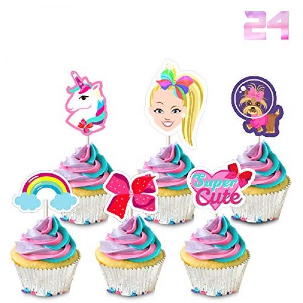 24 Jojo Cupcake Toppers Birthday Party Cake Decorations - Unicor...