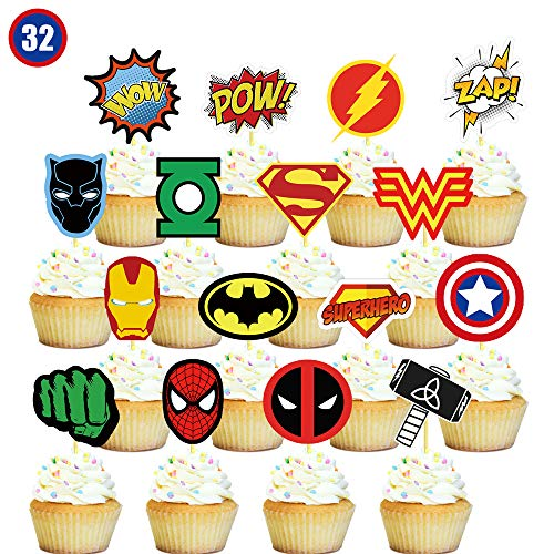 32 Superhero Cupcake Toppers Cake Topper Decorations Birthday Pa...