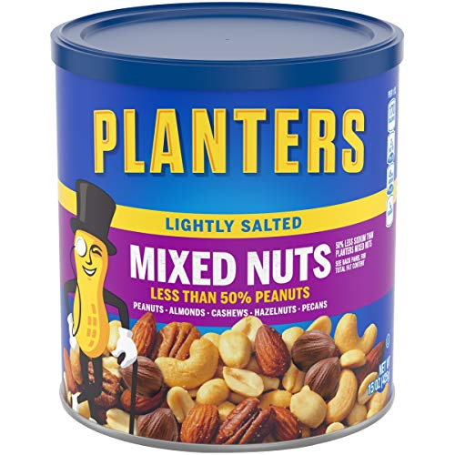 Planters Lightly Salted Mixed Nuts 15 oz Canister, Pack of 3