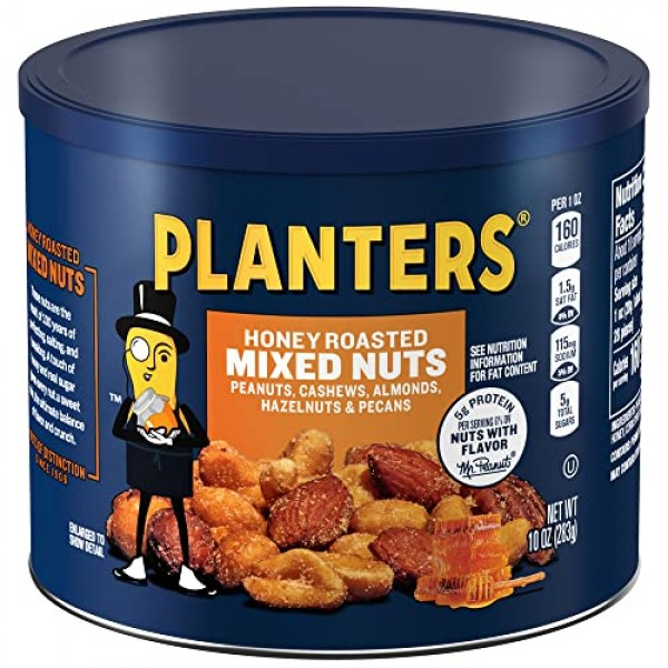 Planters Honey Roasted Mixed Nuts 10 oz Canisters, Pack of 4