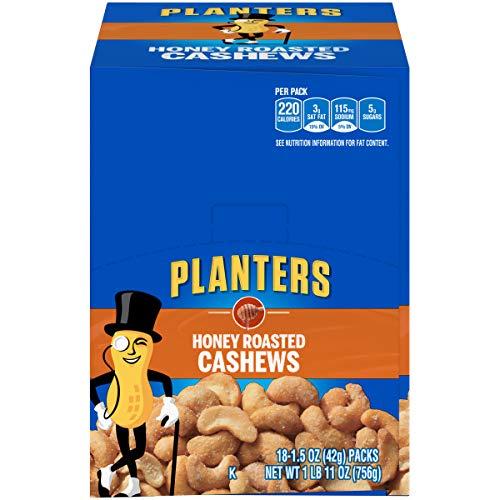 Planters Honey Roasted & Salted Cashews 1.5oz Bag, Pack of 18