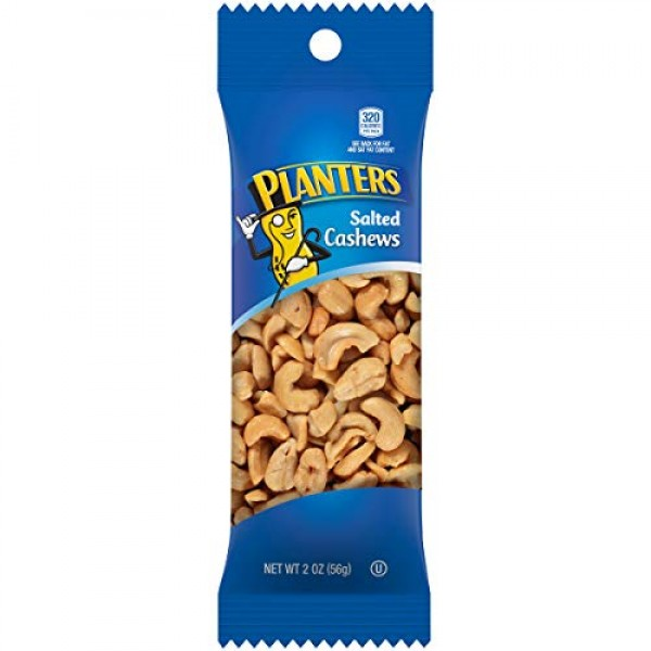 Planters Cashew Super Tube Nuts 2oz Bag, Pack of 15