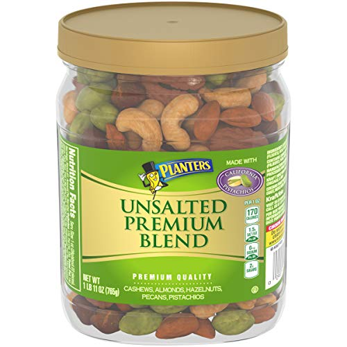 Planters Deluxe Unsalted Mixed Nuts 27 oz Canister