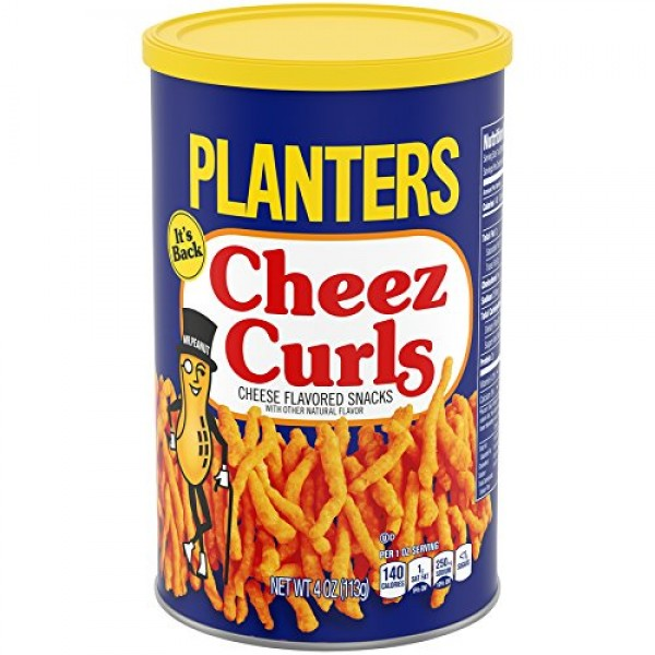 Planters Snack Puffs Cheese Curls 4oz Canisters, Pack of 12