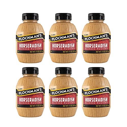 Plochmans Spicy Horseradish Mustard, 11 Ounce Pack of 6