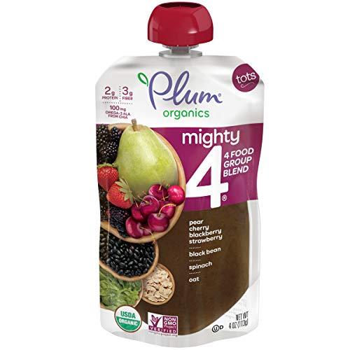 Plum Organics Mighty 4, Organic Toddler Food, Pear, Cherry, Blac...