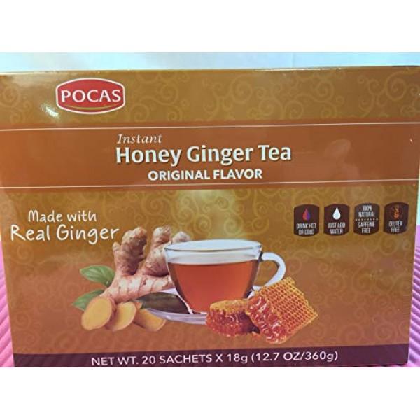 40 Bags Pocas Instant Ginger Honey Tea 18g/0.63oz Honey Ginge...