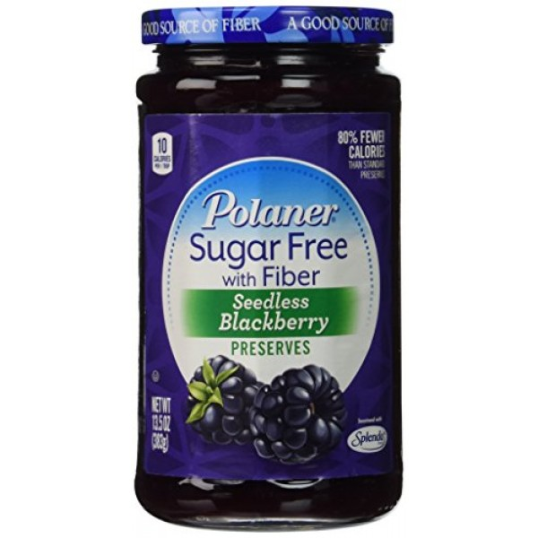 Polaner Seedless Blackberry Preserves Sugar Free with Fiber, 13....