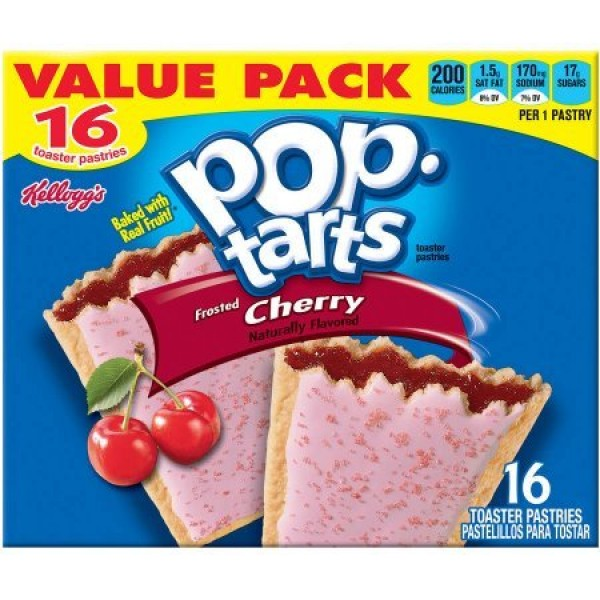 Kelloggs Pop-Tarts Frosted Cherry 16 Toaster Pastries Value Pac...