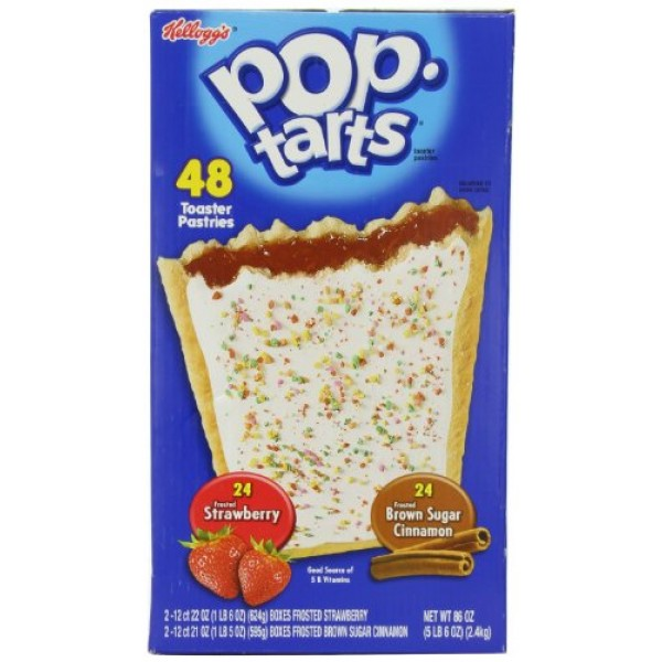 Kelloggs Pop-tarts Frosted Toaster Pastries, 24-Strawberries & ...