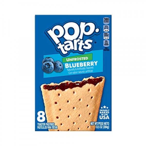 Pop-Tarts, Breakfast Toaster Pastries, Unfrosted Blueberry, Prou...