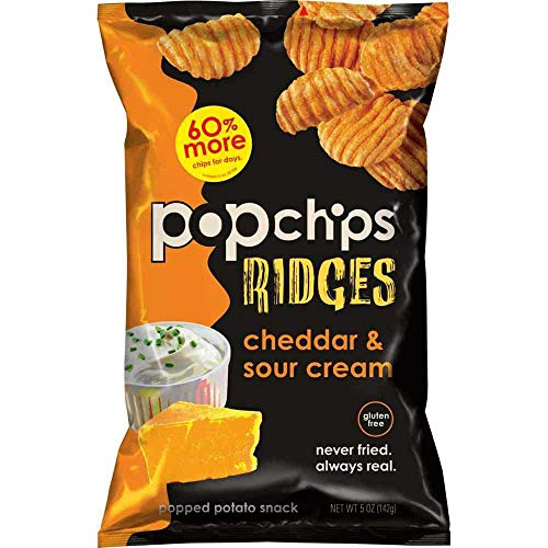 Popchips Cheddar and Sour Cream Ridges Popped Potato Chips, 5 Ou...