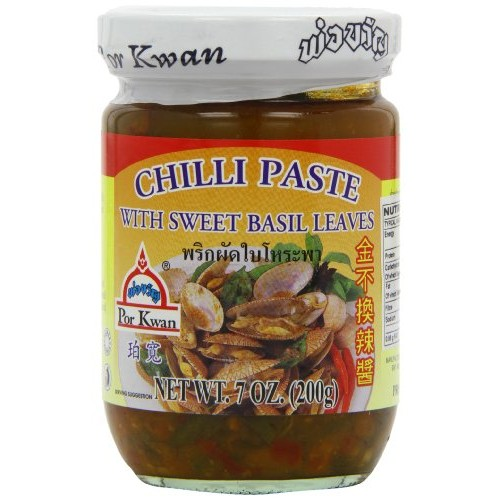 Por Kwan - Chilli Paste with Sweet Basil Leaves Net Wt 7 Oz