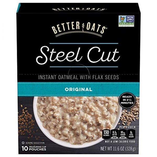 Better Oats Steel Cut Instant Oatmeal with Flax Seeds, Original,...
