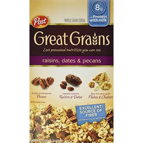 Post, Great Grains, Raisin, Date & Pecan Cereal, 16oz Box (Pack ...