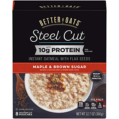 Better Oats Steel Cut Maple & Brown Sugar High Protein Instant O...