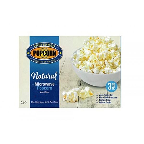 Preferred Popcorn Natural Microwave Popcorn, 36 Pack, Non-GMO 10...