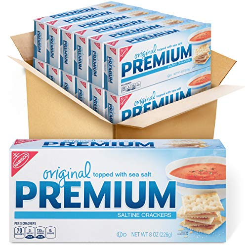 Premium Saltine Crackers, Original, 8 Ounce Pack of 12