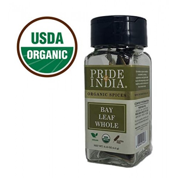 Pride Of India - Organic Bay Leaf Whole, 0.15 oz 4.3 gm - About...