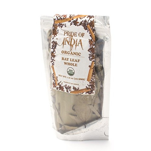 Pride Of India- Organic Bay Leaf Whole- 1 oz 29 gm Resealable ...