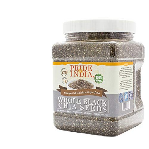 Pride Of India - Whole Black Chia Seeds - Omega-3 & Calcium Supe...