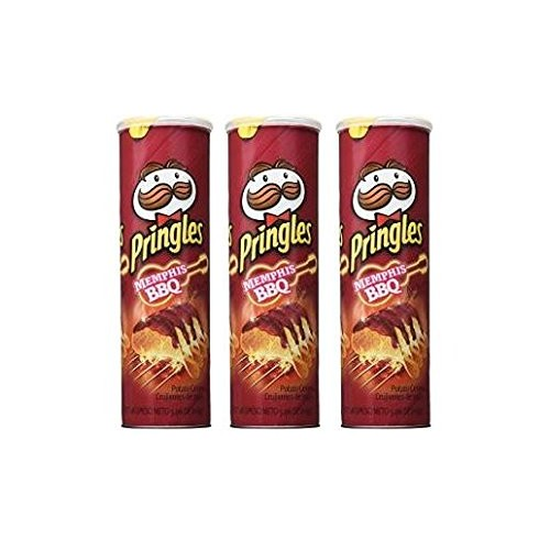 Pringles Memphis BBQ Potato Crips Pack of 3 5.96 oz Cans