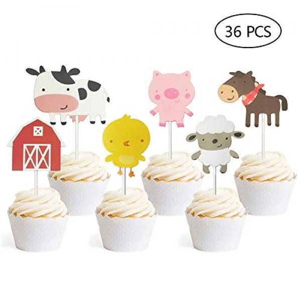 36 PCS Farm Animal Theme Cupcake Topper Cake Picks Decoration fo...