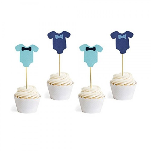 PROPARTY Blue Baby Jumpsuits Baby Shower Cake Cupcake Toppers Pi...